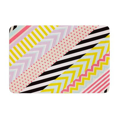 Louise Machado Diagonal Tape Multicolor, Geometric Memory Foam Bath Rug