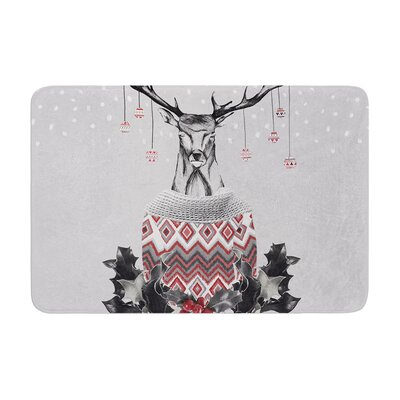 Nika Martinez Christmas Deer Snow Holiday Memory Foam Bath Rug