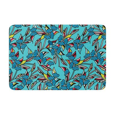 Michelle Drew Paper Leaf Memory Foam Bath Rug Color: Blue