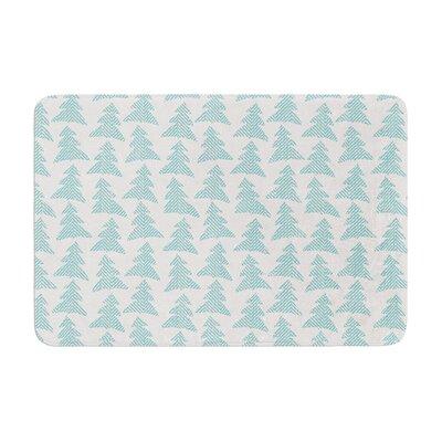 Michelle Drew Herringbone Forest Memory Foam Bath Rug Color: Teal