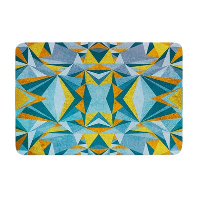 Nika Martinez Abstraction Memory Foam Bath Rug Color: Blue/Gold