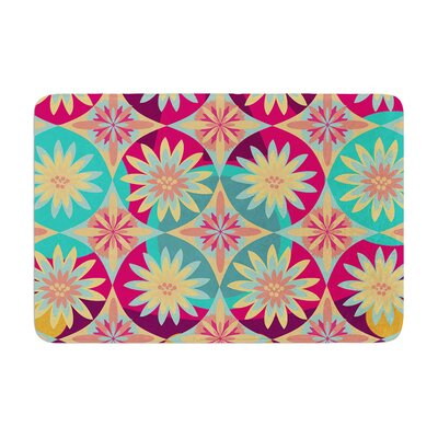 Nika Martinez Happy Flowers Floral Abstract Memory Foam Bath Rug