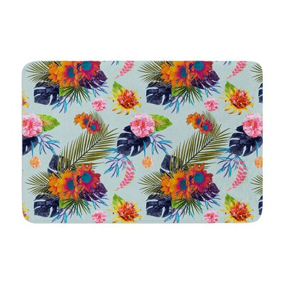 Nika Martinez Tropical Floral Flowers Memory Foam Bath Rug