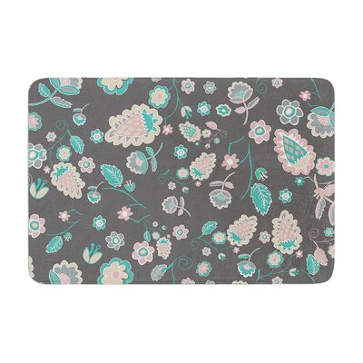 Nika Martinez Cute Winter Floral Memory Foam Bath Rug