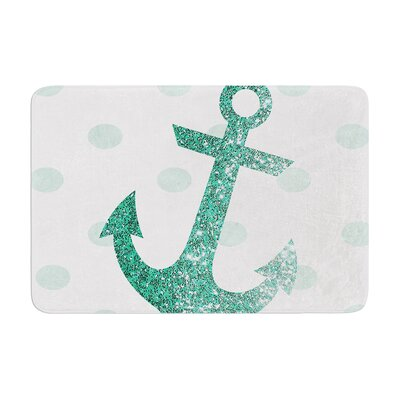 Nika Martinez Glitter Anchor Memory Foam Bath Rug Color: Teal