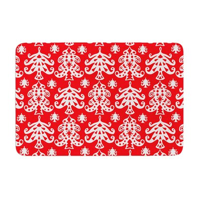 Miranda Mol Ornate Trees Holiday Memory Foam Bath Rug Color: Red