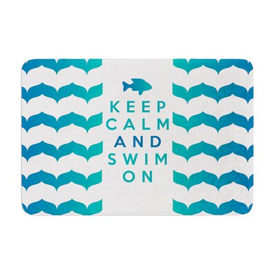 Nick Atkinson Keep Calm and Swim on Memory Foam Bath Rug