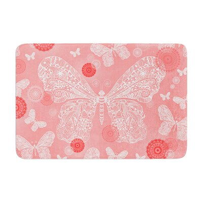 Monika Strigel Butterfly Dreams Coral Memory Foam Bath Rug Color: Coral