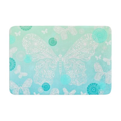 Monika Strigel Butterfly Dreams Coral Memory Foam Bath Rug Color: Mint