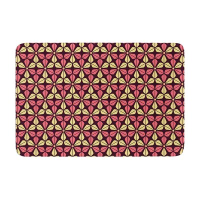 Nick Atkinson Infinite Flowers Memory Foam Bath Rug Color: Red