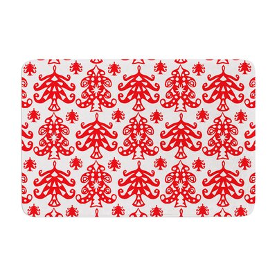 Miranda Mol Ornate Trees Holiday Memory Foam Bath Rug Color: White