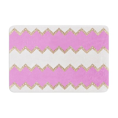 Monika Strigel Avalon Coral Chevron Memory Foam Bath Rug Color: Rose/White