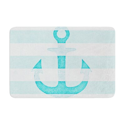 Monika Strigel Stone Vintage Anchor Memory Foam Bath Rug Color: Aqua