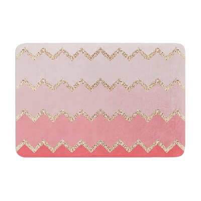 Monika Strigel Avalon Coral Chevron Memory Foam Bath Rug Color: Coral/Pink