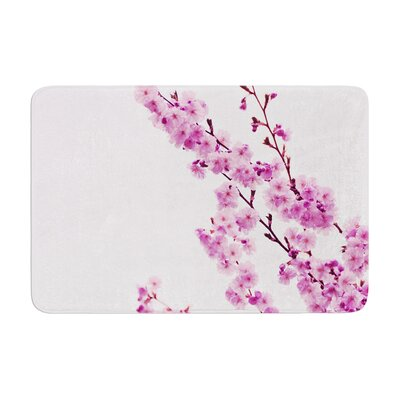 Monika Strigel Cherry Sakura Floral Memory Foam Bath Rug Color: Pink