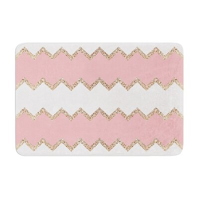 Monika Strigel Avalon Coral Chevron Memory Foam Bath Rug Color: Coral/White