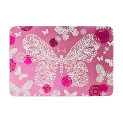 Monika Strigel Butterfly Dreams Coral Memory Foam Bath Rug Color: Pink Ombre