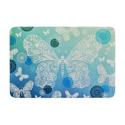 Monika Strigel Butterfly Dreams Coral Memory Foam Bath Rug Color: Ocean