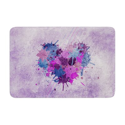 Nick Atkinson Painted Heart Memory Foam Bath Rug