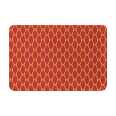 Nandita Singh Marsala and Mustard Pattern Memory Foam Bath Rug Color: Mustard