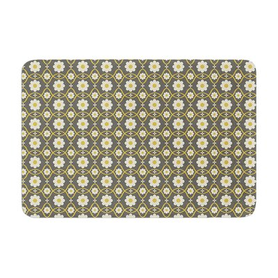 Nandita Singh Floral Pattern Memory Foam Bath Rug Color: Gray/Brown