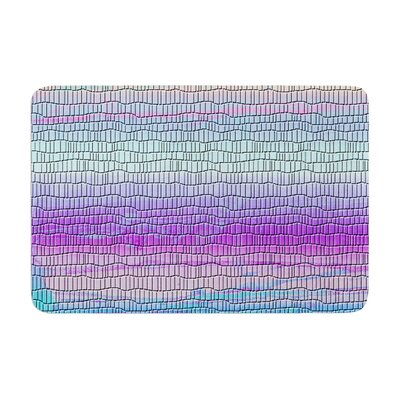 Nina May Drip Dye Cool Strid Geometry Memory Foam Bath Rug