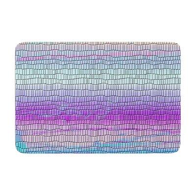 Nina May Drip Dye Cool Strid Geometry Memory Foam Bath Rug