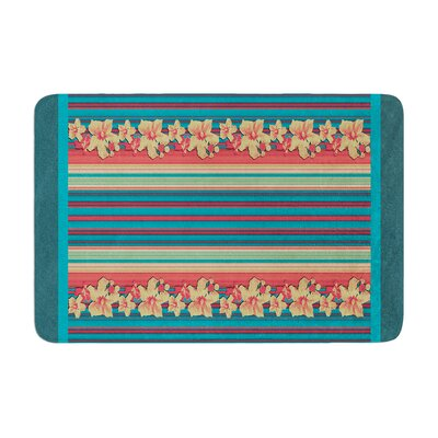 Nina May Mahalo Denim Stripe Floral Memory Foam Bath Rug