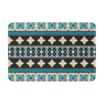 Nandita Singh Borders Memory Foam Bath Rug Color: Blue/Teal