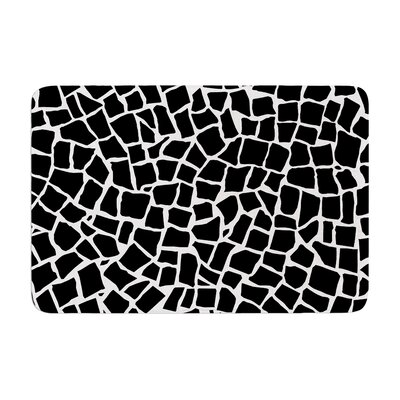 Project M British Mosaic Memory Foam Bath Rug Color: Black