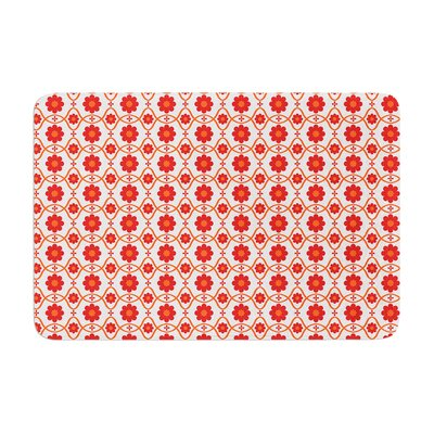 Nandita Singh Floral Pattern Memory Foam Bath Rug Color: Red/Crimson
