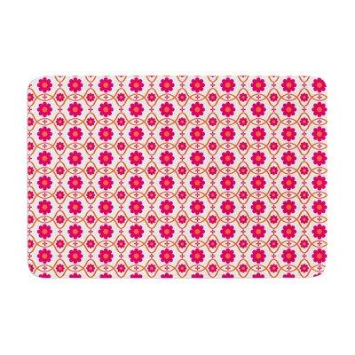 Nandita Singh Floral Pattern Memory Foam Bath Rug Color: Pink/Magenta