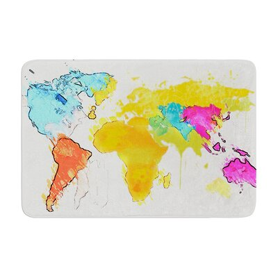 Oriana Cordero World Map Memory Foam Bath Rug