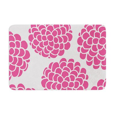 Pom Graphic Design Raspberry Blossoms Circles Memory Foam Bath Rug