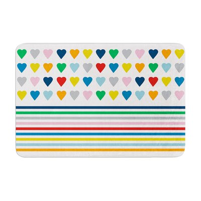 Project M Heart Stripes Shapes Memory Foam Bath Rug