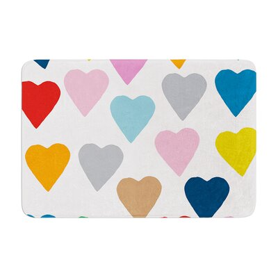 Project M Colorful Hearts Memory Foam Bath Rug
