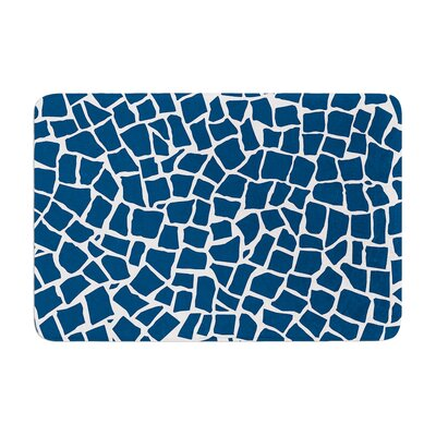Project M British Mosaic Memory Foam Bath Rug Color: Navy