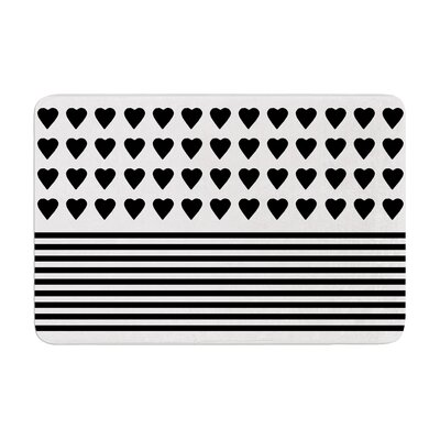 Project M Heart Stripes and Monochrome Lines Memory Foam Bath Rug