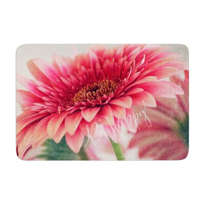 Robin Dickinson Be Happy Floral Memory Foam Bath Rug
