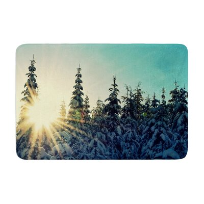 Robin Dickinson Shine Bright Snowy Trees Memory Foam Bath Rug