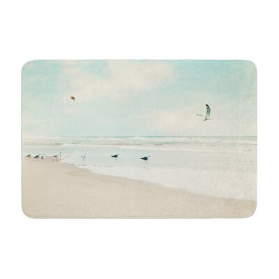 Sylvia Cook Away We Go Beach Seagull Memory Foam Bath Rug