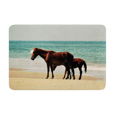 Robin Dickinson Sandy Toes Beach Horses Memory Foam Bath Rug