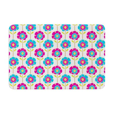 Apple Kaur Designs Lolly Flowers Memory Foam Bath Rug