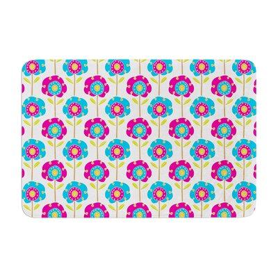 Apple Kaur Designs Lolly Flowers Memory Foam Bath Rug