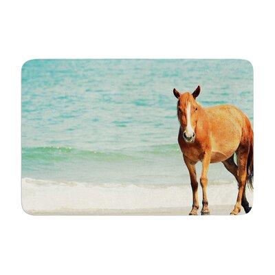 Robin Dickinson Wild Mustang of Carova Horse Ocean Memory Foam Bath Rug