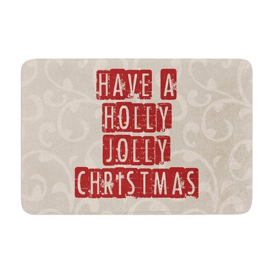 Sylvia Cook Have a Holly Jolly Christmas Holiday Memory Foam Bath Rug