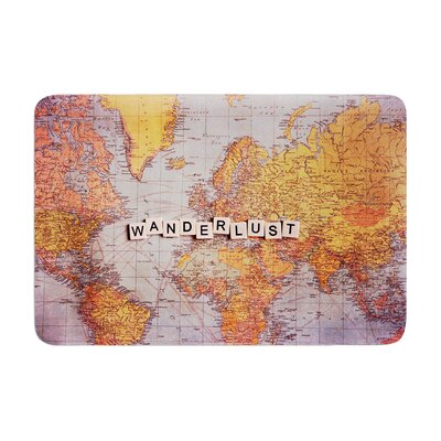 Sylvia Cook Travel Map World Memory Foam Bath Rug