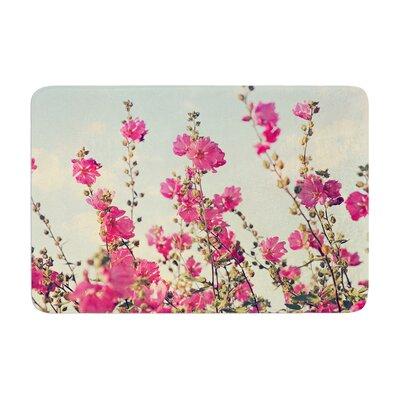 Sylvia Cook Lavatera Flowers Sky Memory Foam Bath Rug