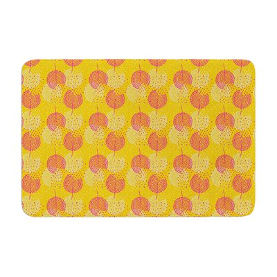 Apple Kaur Designs Wild Summer Dandelions Circles Memory Foam Bath Rug