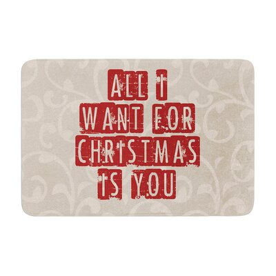 Sylvia Cook All I Want for Christmas Holiday Memory Foam Bath Rug